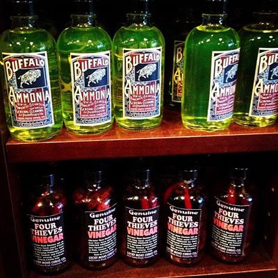 Buffalo-Ammonia-and-Four-Thieves-Vinegar-Shelf--at-the-Lucky-Mojo-Curio-Company