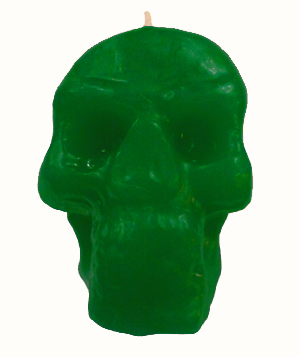 Skull-Candle-Green-at-the-Lucky-Mojo-Curio-Company-in-Forestville-California