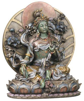 Nine-and-a-half-inch-Green-Tara-Bronze-Tone-Resin-at-Lucky-Mojo-Curio-Company