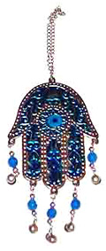 Blue-Stamped-Metal-Hamsa-Hand-Wall-Hanger-with-Small-Hanging-Beads-at-the-Lucky-Mojo-Curio-Company