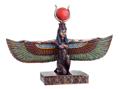 Bronzed-Isis-Kneeling-with-Open-Wings-Statue-at-Lucky-Mojo-Curio-Company