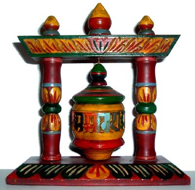 Nepalese-Hand-Carved-Painted-Wood-Prayer-Wheel-at-Lucky-Mojo-Curio-Company
