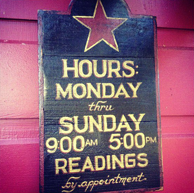 Sign-With-Readings-Hours-Outside-the-Lucky-Mojo-Curio-Company