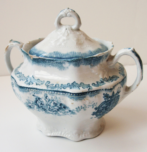 Flow Blue Sugar Bowl