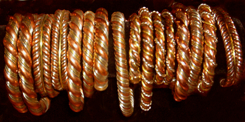 Tibetan-Medicine-Bracelets-Three-Metals-Twisted-Copper-Silver-Brass-Size-6-at-the-Lucky-Mojo-Curio-Company
