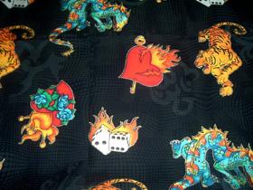 Lucky Mojo Altar Cloth with Lucky Tattoo Flash Art