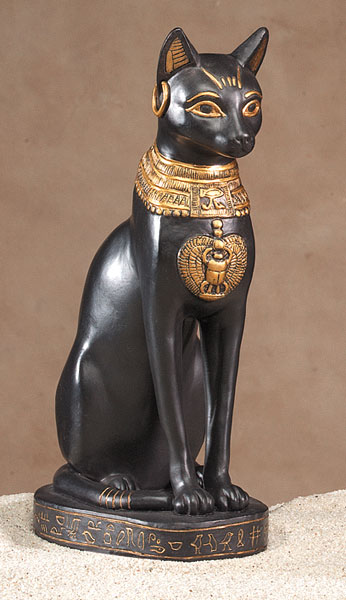 Eight-Inch-Bastet-Black-Cat-Sitting-Statue-at-Lucky-Mojo-Curio-Company