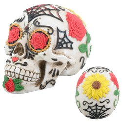 Skull, Day of the Dead Sugar/Tattoo Style, Painted Resin